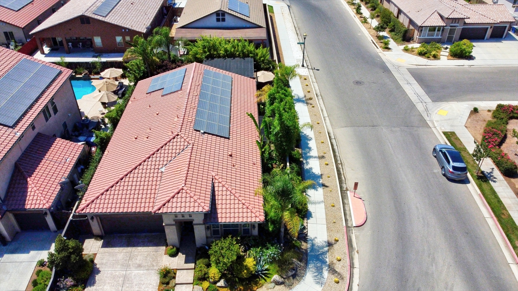 Aerial of Roofline with Solar Panels